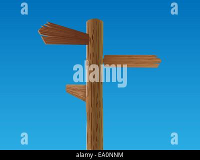 vector wooden crossroad sign - Stock Photo