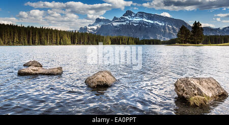 Lake Minnewanka and Two Jack Lake, Banff National Park, Alberta, Canada, North America. - Stock Photo