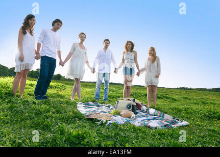 Portrait of six young adult friends holding hands in field - Stock Photo