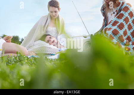 Four young adult friends resting in field - Stock Photo