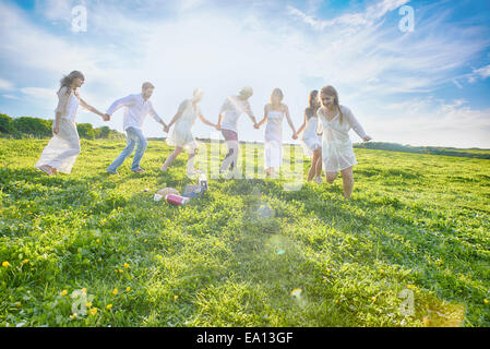Seven young adult friends holding hands and running in field - Stock Photo