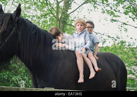 Three boys in a row riding on horse in woods - Stock Photo