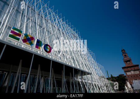 Italy, Lombardy, Milan,  Milan Expo Gate, Info Point in Castle Square for the World Exposition 2015 - Stock Photo