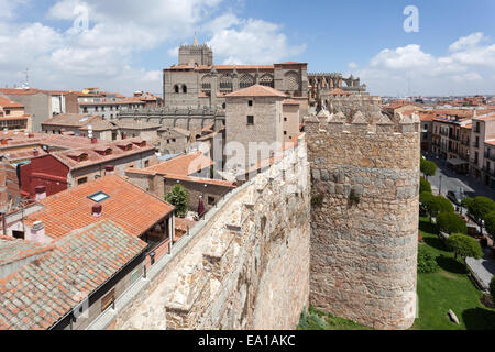 Ancient wall and cathedral of Avila, Castile and Leon, Spain - Stock Photo