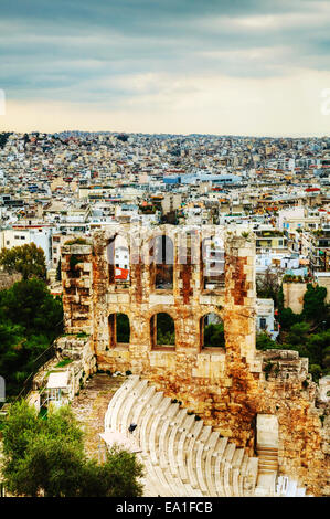 The Odeon of Herodes Atticus view in Athens - Stock Photo