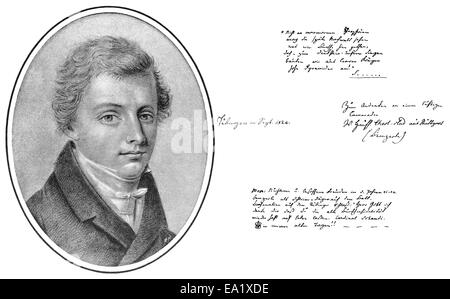 Historical manuscript and portrait of Wilhelm Hauff, 1802 - 1827, a German writer of the Romantic era, Historische - Stock Photo
