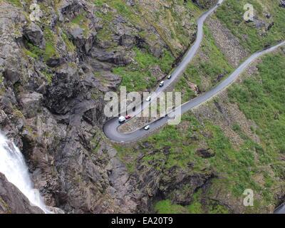 Hairpin curve on the Trollstigen in Norway - Stock Photo