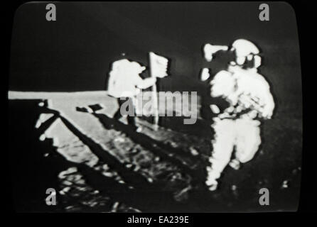 Moon landing 20 July 1969 with Neil Armstrong and Buzz Aldrin photographed in actual time on the television in Los - Stock Photo