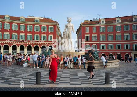 Fontaine du Soleil, Apollo statue, Place Massena, Nice, France. - Stock Photo