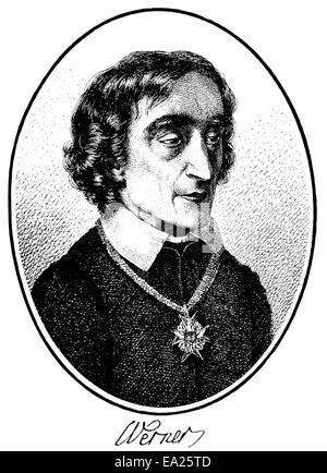 portrait of Friedrich Ludwig Zacharias Werner, 1768 - 1823, German poet, dramatist, and preacher, Portrait von Friedrich - Stock Photo
