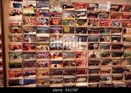 Full rack of of comic books in a comic book shop. St Paul Minnesota MN USA - Stock Photo