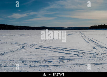Winter wilderness crossed by snowmobile tracks - Stock Photo