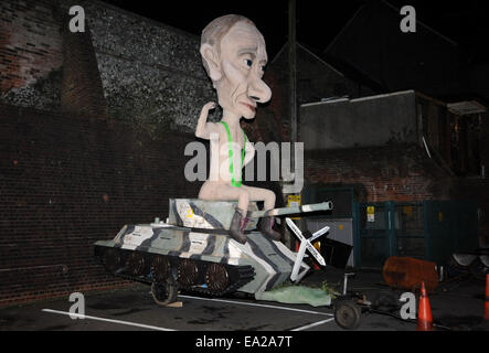 5th November, 2014. An effigy of Russian leader Vladimir Putin at the annual Lewes Bonfire Celebrations and Parades - Stock Photo
