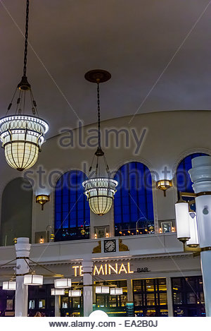 The newly renovated interior of Union Station in Downtown Denver, Colorado USA. The upper floors of the building - Stock Photo