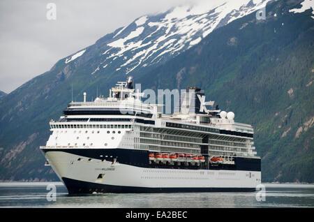 Cruise ship Celebrity Millenium in upper Taiya Inlet, Southeast Alaska - Stock Photo