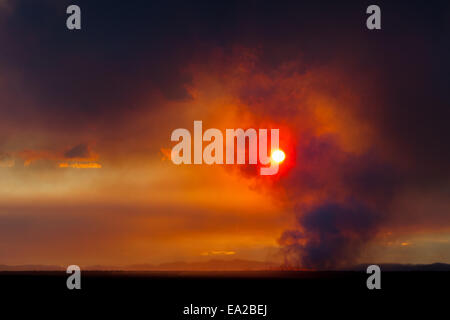 dawn over the volcano eruption, Iceland 2 - Stock Photo