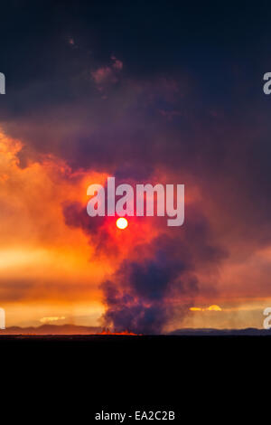 dawn over the volcano eruption, Iceland - Stock Photo