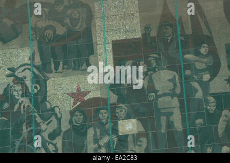 Ernst Thalmann (right top) depicted in the GDR era mosaic on the Palace of Culture (1969) in Dresden, Saxony, Germany. - Stock Photo