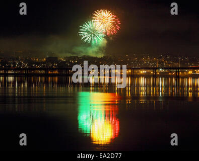 Dundee, Scotland, UK. 5th November, 2014. Reflections on the River Tay,of Fireworks on Bonfire night in Dundee, - Stock Photo