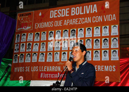 LA PAZ, BOLIVIA, 5th November 2014. A student leader speaks at an event organised to show solidarity with the 43 - Stock Photo