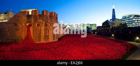 LONDON, UK - OCTOBER 27TH 2014: A panoramic view of the ceramic Poppies of the 'Blood Swept Lands and Seas of Red' - Stock Photo