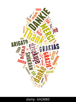Conceptual text word cloud with Thank You in many languages - Stock Photo