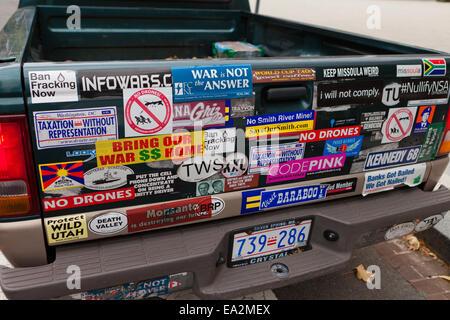 Environmental activists car bumper stickers usa stock photo