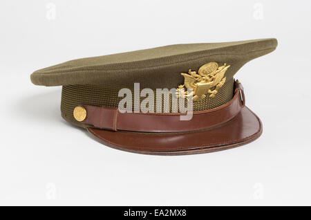 An olive drab officer's hat worn by an American officer of the United States Army Air Forces USAAF during World - Stock Photo