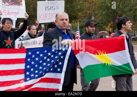 Kurdish-Americans protesting in front of the White House against ISIS and requesting continual support of Kurdistan - Stock Photo