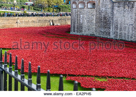 The Blood Swept Lands and Seas of Red art installation at the Tower of London - Stock Photo