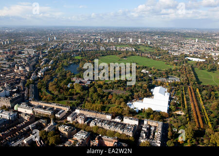 An aerial view of Regents Park in London England. - Stock Photo