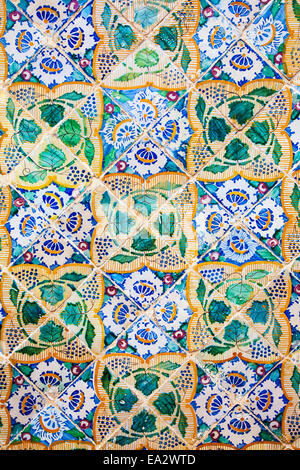 Traditional Arabic patterns on ceramic wall tiles in the Museum Dar Essid in Sousse,Tunisia. - Stock Photo