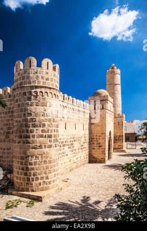 The entrance and Nador or watchtower of the Ribat in the Medina in Sousse,Tunisia. - Stock Photo