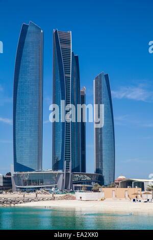 Etihad Towers, Abu Dhabi, United Arab Emirates, Middle East - Stock Photo