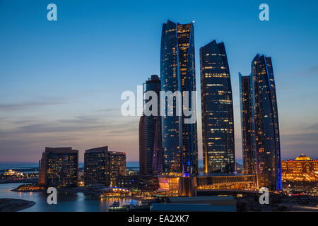 View of Etihad Towers and to the right The Emirates Palace Hotel, Abu Dhabi, United Arab Emirates, Middle East - Stock Photo