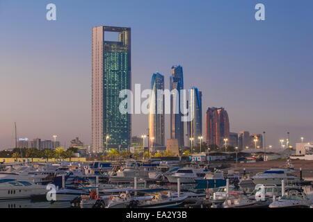 View of Marina and city skyline, Abu Dhabi, United Arab Emirates, Middle East - Stock Photo