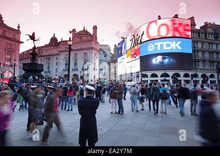 Statue of Eros, Piccadilly Circus, London, England, United Kingdom, Europe - Stock Photo