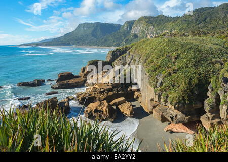 Coastline, Punakaiki, Paparoa National Park, West Coast, South Island, New Zealand, Pacific - Stock Photo