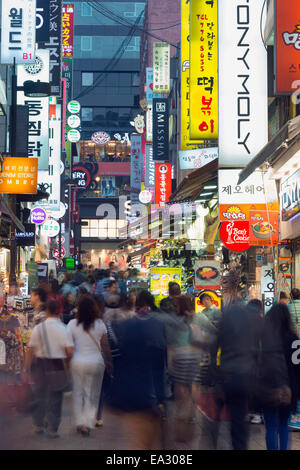 Neon lit streets of Myeong-dong, Seoul, South Korea, Asia - Stock Photo