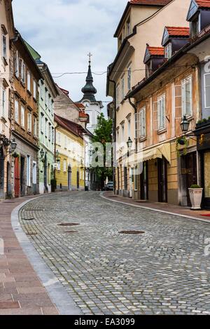 Cobbled street, Ljubljana, Slovenia, Europe - Stock Photo