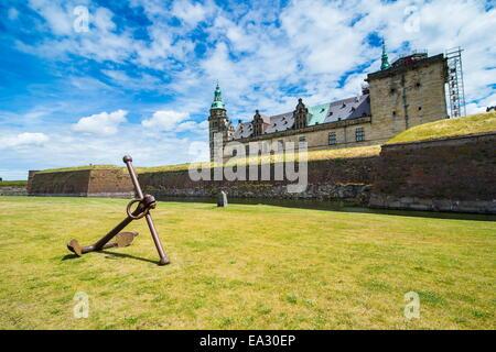 Huge old anchor in front of Kronborg renaissance castle, UNESCO World Heritage Site, Helsingor, Denmark, Scandinavia, - Stock Photo