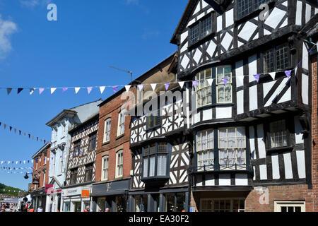 Medieval timber framed buildings, High Street, Ludlow, Shropshire, England, United Kingdom. Europe - Stock Photo
