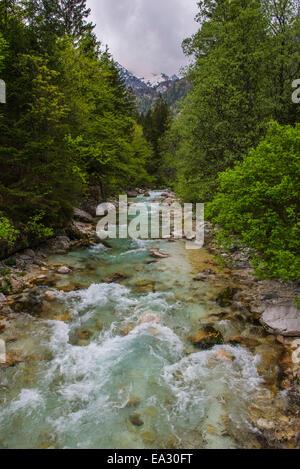 Soca River in the Soca Valley, Triglav National Park (Triglavski Narodni Park), Julian Alps, Slovenia, Europe - Stock Photo