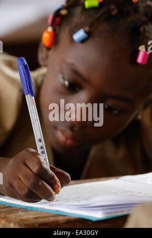 Schoolgirl, African primary school, Lome, Togo, West Africa, Africa