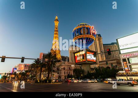 Eiffel Tower in the Paris Las Vegas Hotel at night, Las Vegas, Nevada, United States of America, North America - Stock Photo