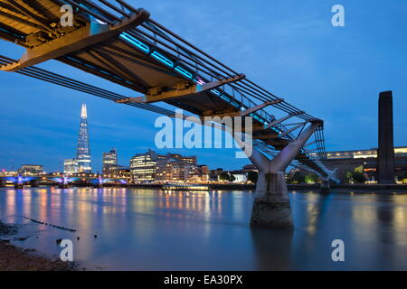 View over the River Thames with the Millennium Bridge and Tate Modern and The Shard, London, England, United Kingdom, - Stock Photo