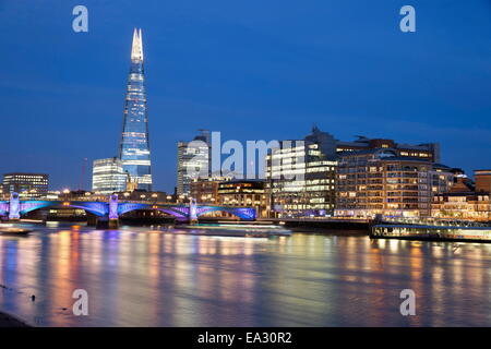 View over the River Thames with The Shard, London, England, United Kingdom, Europe - Stock Photo
