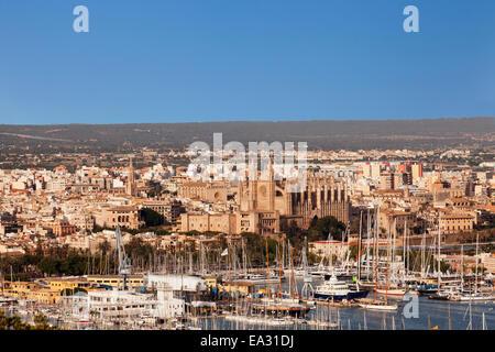 View over Palma de Mallorca with Cathedral of Santa Maria of Palma and Almudaina Palace, Majorca, Spain, Mediterranean - Stock Photo