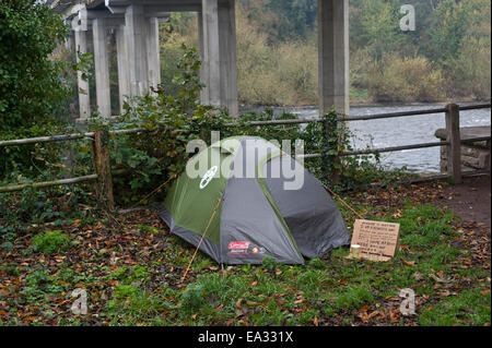 Hay-on-Wye Powys Wales UK 6th Nov 2014. Tent & Homeless in the UK living with tent and tarpaulins semi ...