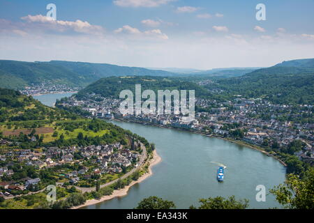View over Boppard and the River Rhine from Vierseenblick, Rhine Valley, UNESCO Site, Rhineland-Palatinate, Germany - Stock Photo